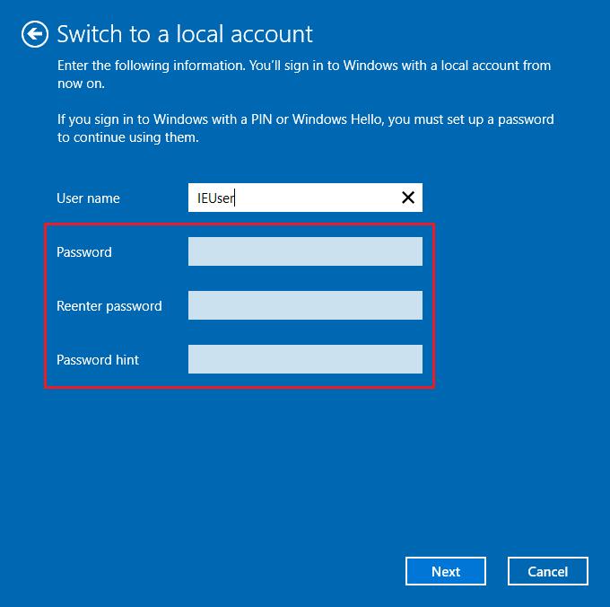 Buat username baru namun kosongkan password