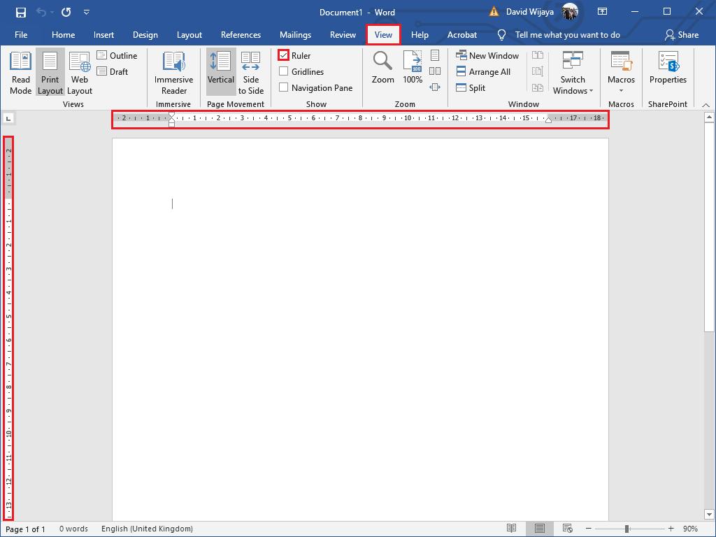 Cara Menampilkan/ Memunculkan Ruler di Word - View