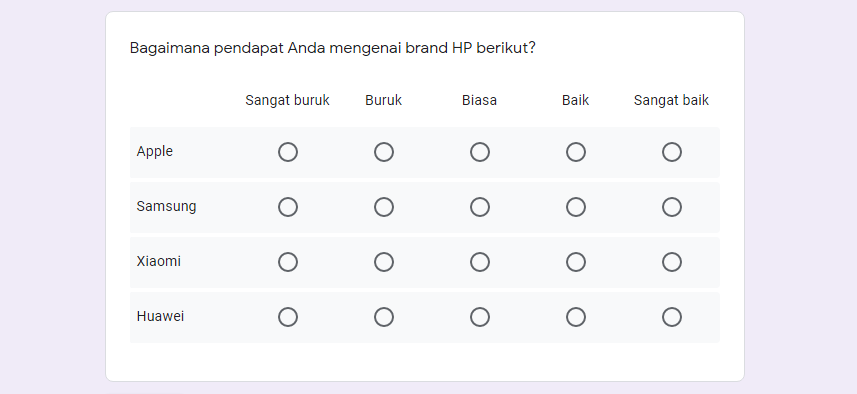 Contoh pertanyaan multiple choice grid