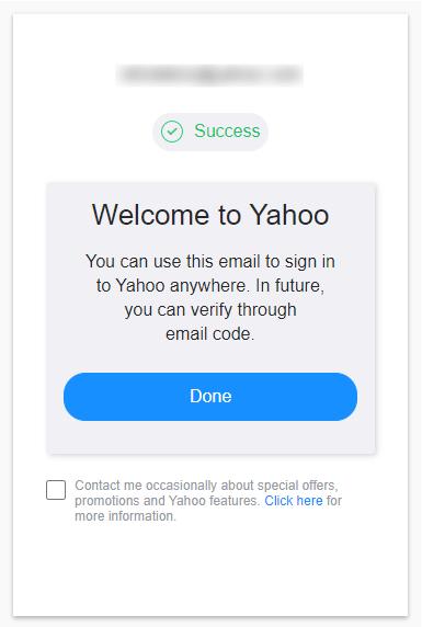 Berhasil membuat email Yahoo
