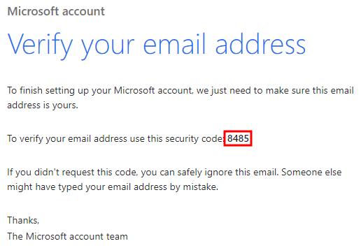 Email konfirmasi Microsoft
