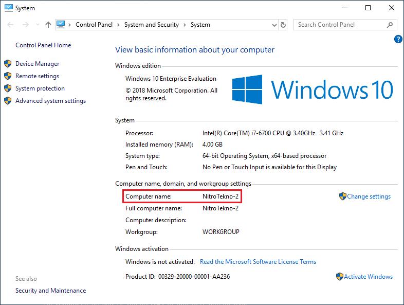 Nama komputer atau laptop sudah diganti
