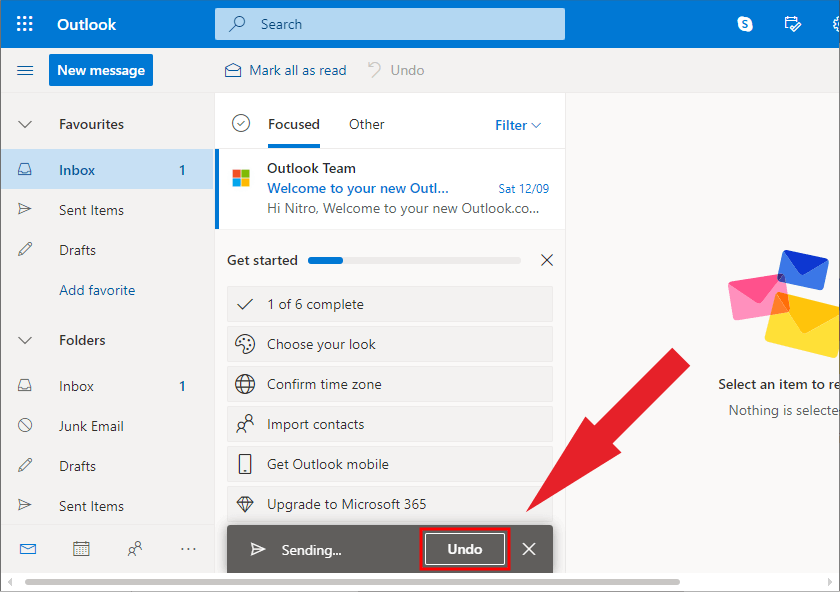 Unsend email Outlook - Tombol Undo Send
