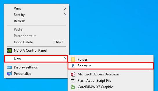 Klik kanan di Desktop lalu pilih Shortcut