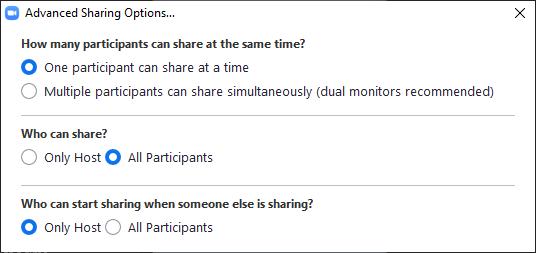 Membuat peserta bisa Share Screen Zoom