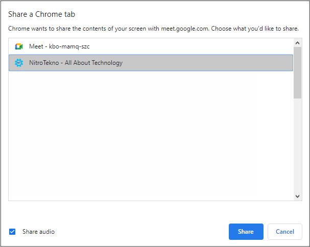 Share a Chrome tab Google Meet