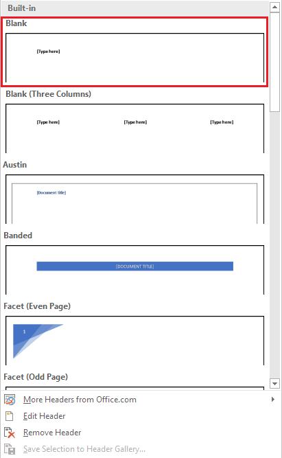 Memilih Jenis Header di Microsoft Word