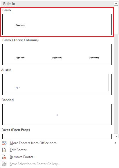 Memilih Jenis Footer di Microsoft Word