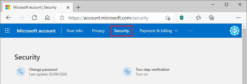 Tab Security di akun Microsoft PC
