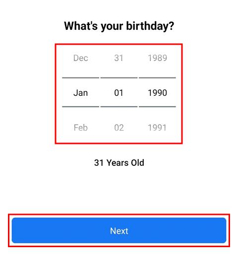 Memilih tanggal lahir akun FB baru